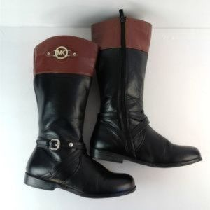 Michael Kors Mena Black Brown Leather Boots Size 5